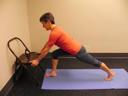 chair yoga pose focus crescent lunge  grey bears